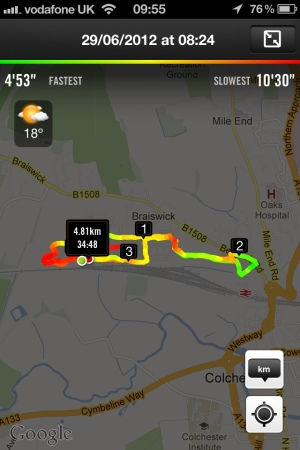 Today's run information from Nike+