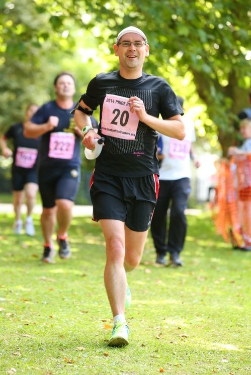 Crossing the finish line - look at the smile on my face