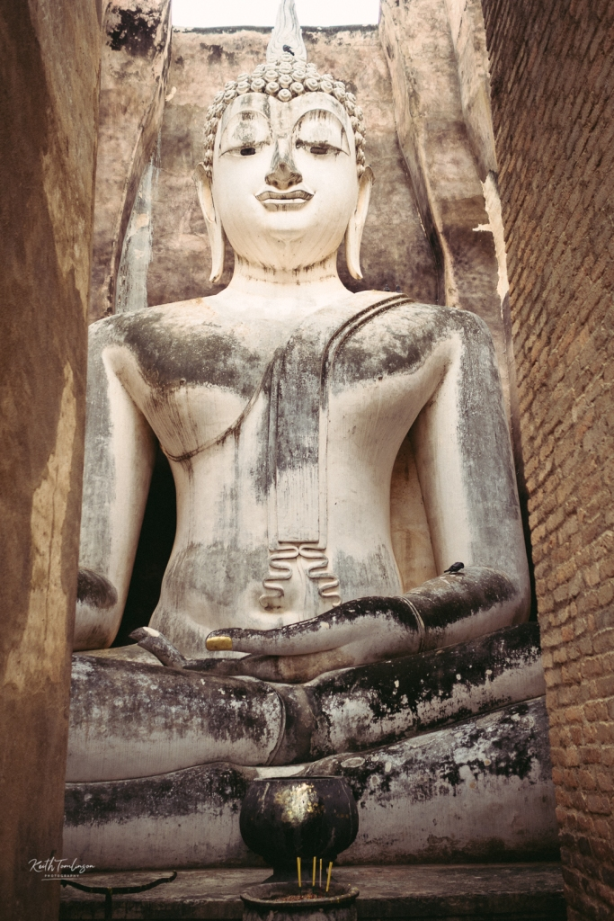 A vast statue of Buddha, several stories high with a pigeon sat on his arm