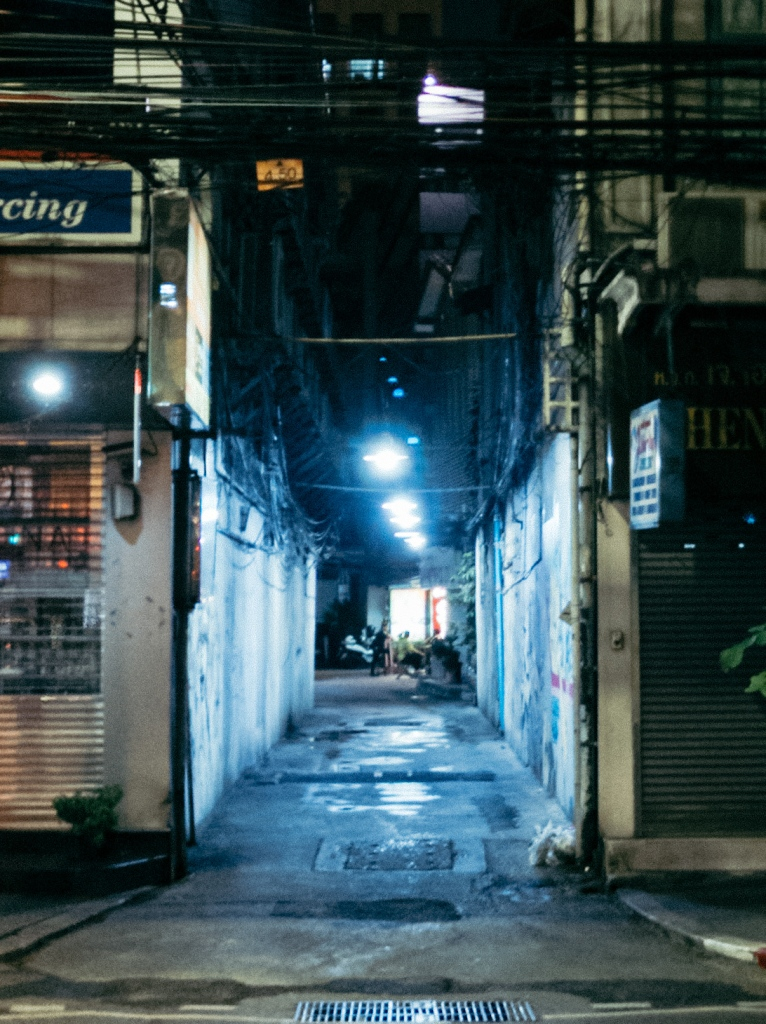 A view down an alleyway in Bangkok Thailand