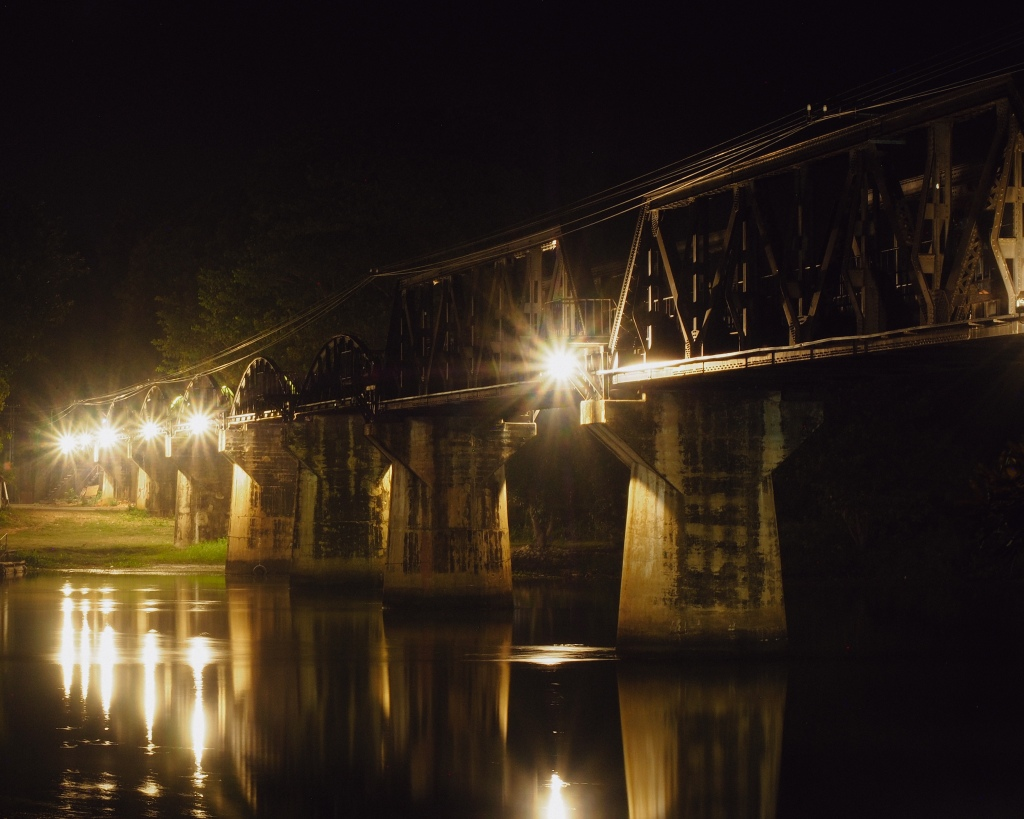 The bridge over the River Kwai illuminated by spotlights.  Taken on the 11th November 2019.