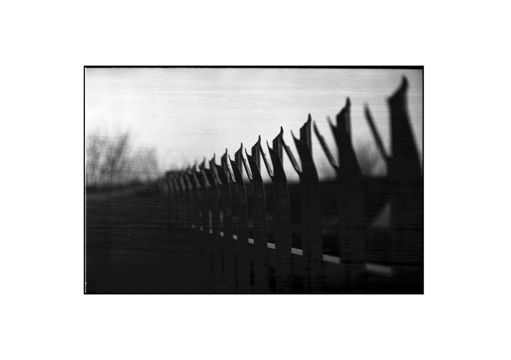 A photo of a fence shot at f/1.4 - you can see the very shallow area of focus in the middle of the shot