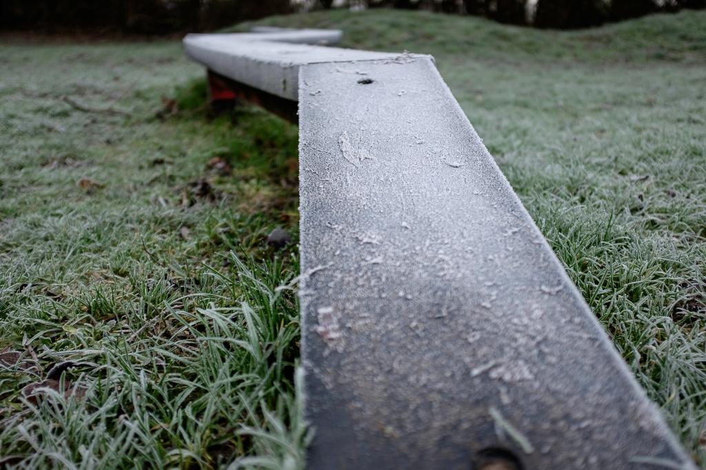 A frosty climbing frame