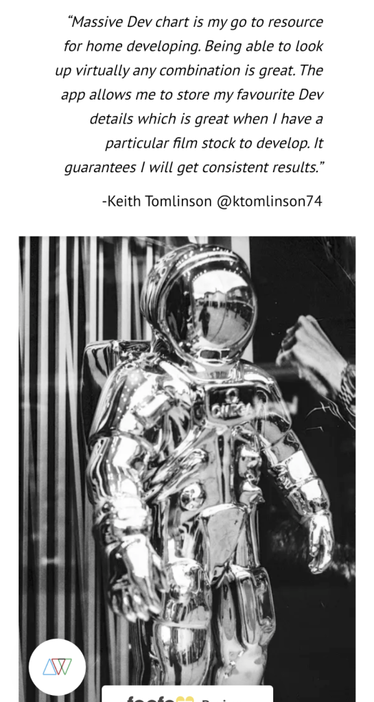 A screen grab of my quote and photograph as featured by Analogue Wonderland
