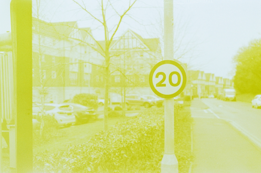 A photo of a new speed limit sign near where I live