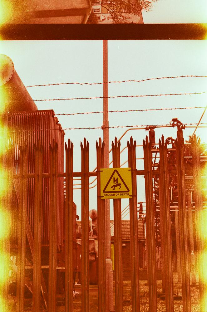 Warning sign at the local power hub