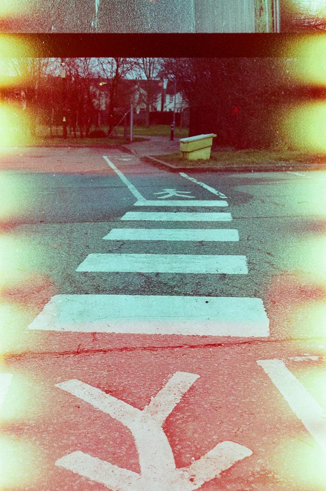 A zebra crossing to guide pedestrians through the station car park