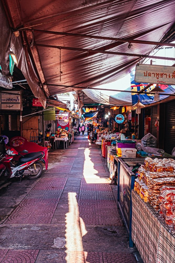 A view of a street market in Bangkok