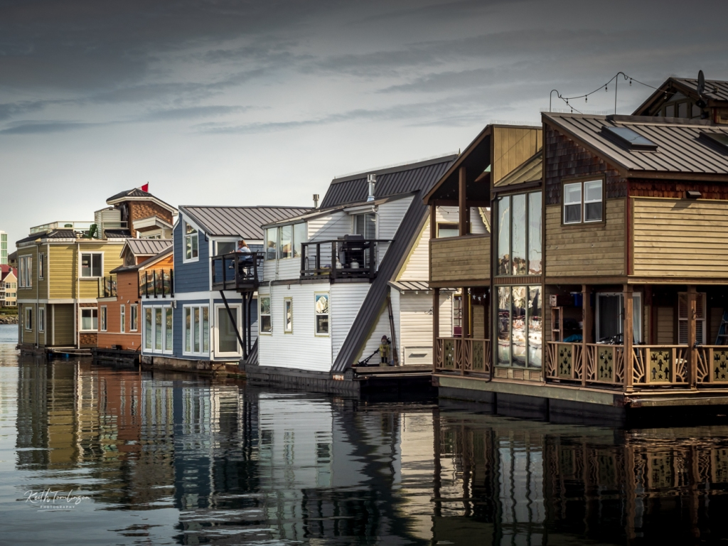A view of the house boats in Victoria Harbour, Canada