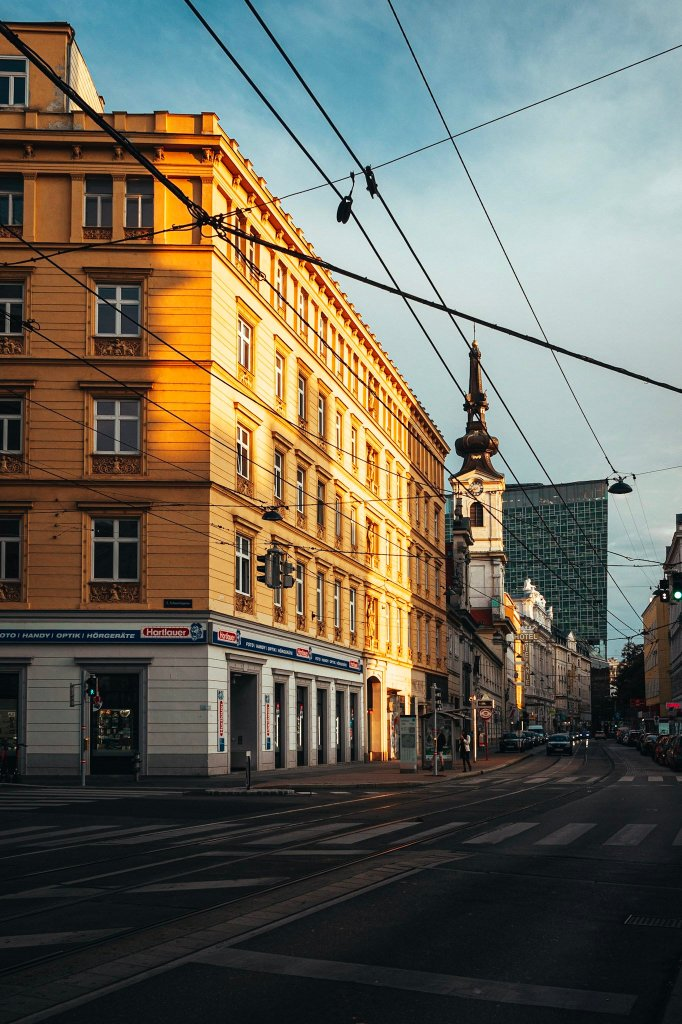 Sunset street view of Vienna, Austria