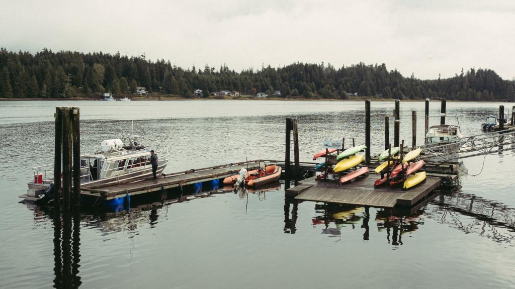 Ucluelet harbour view from the Aquarium.  British Columbia, Canada.