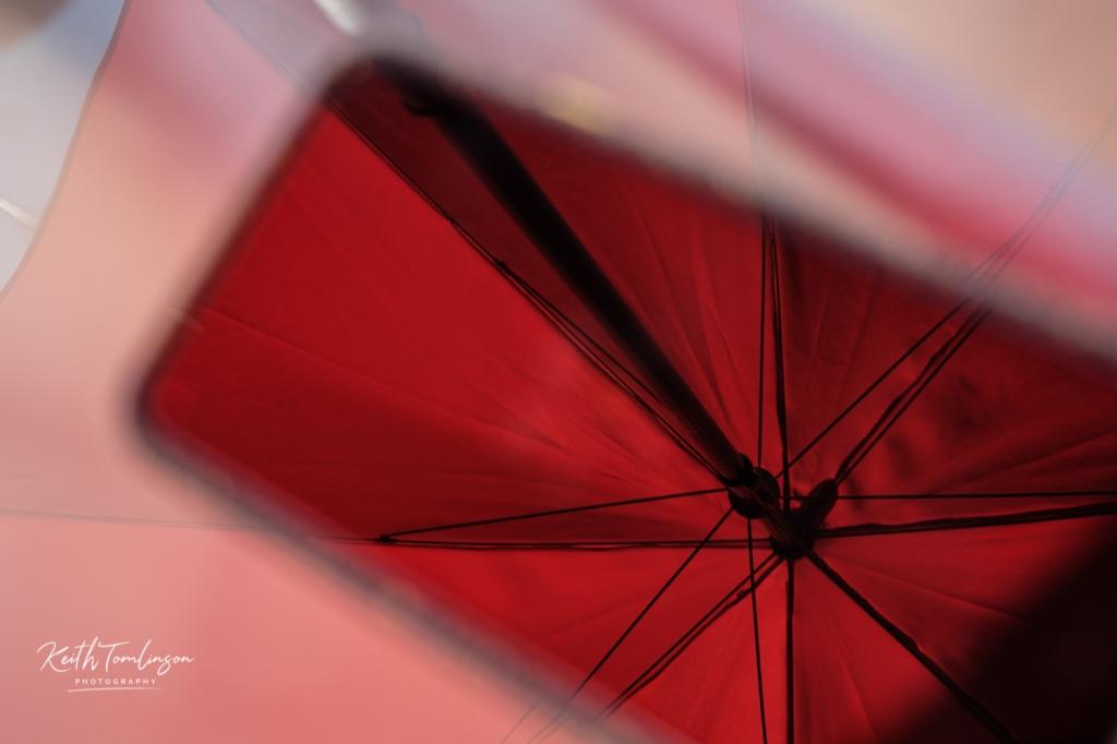 The underside of the garden parasol
